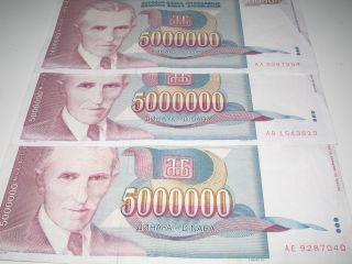 Yugoslavia Banknote 5000000 5 Million Dinara Dinars Nikola Tesla 1993 Circulated photo