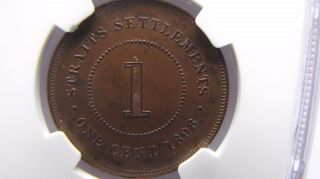 Straits Settlements 1 Cent 1898 Ngc Ms63 Bn photo