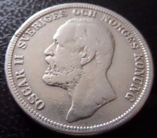 Sweden 2 Kronor 1904 Silver,  Km 761 photo