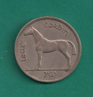 1962 Ireland 1/2 Crown (half Crown) Irish Harp Obverse / Horse Reverse Design photo