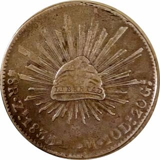 Mexico 1833 Zacatecas Cap & Rays 8 Reales - Very Fine Alamo Type Coin photo
