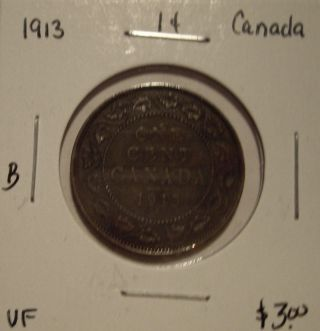 B Canada George V 1913 Large Cent - Vf photo