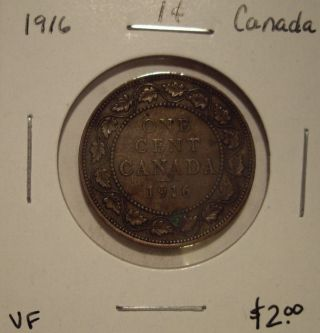 Canada George V 1916 Large Cent - Vf photo