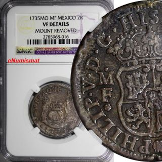 Mexico Philip V Silver 1735 Mo Mf 2 Reales Ngc Vf Details Km 84 photo