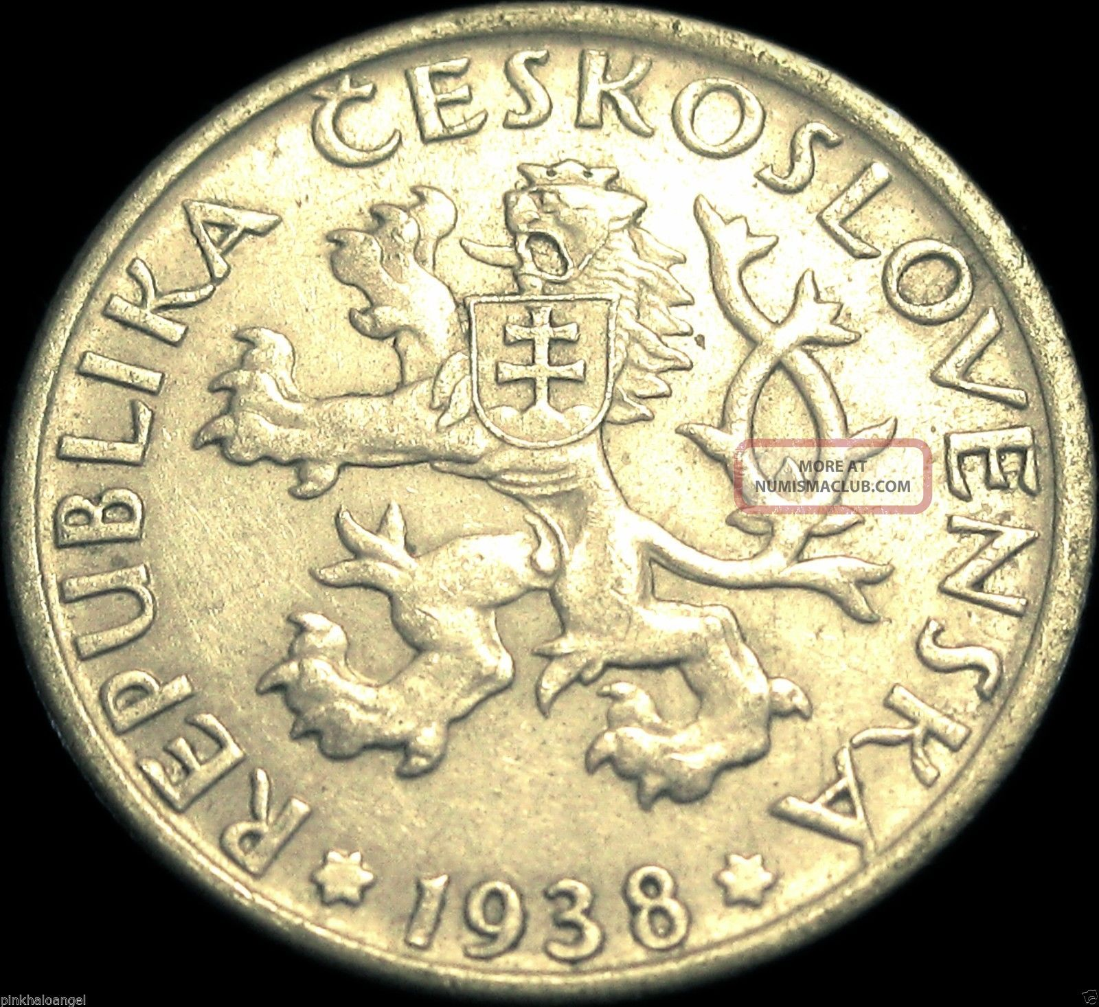 Czechoslovakia - Czechoslovakian 1938 Koruna Coin - Rare Rampant Lion Europe photo