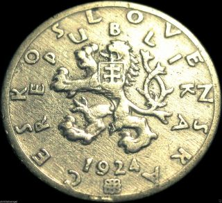 Czechoslovakia - Czechoslovakian 1924 50 Haleru Coin Rare Rampant Lion photo