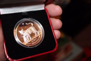 Isle Of Man Bengal Cat & Kittens 1 Crown 2002 1 Oz Proof.  999 Silver Box/coa photo
