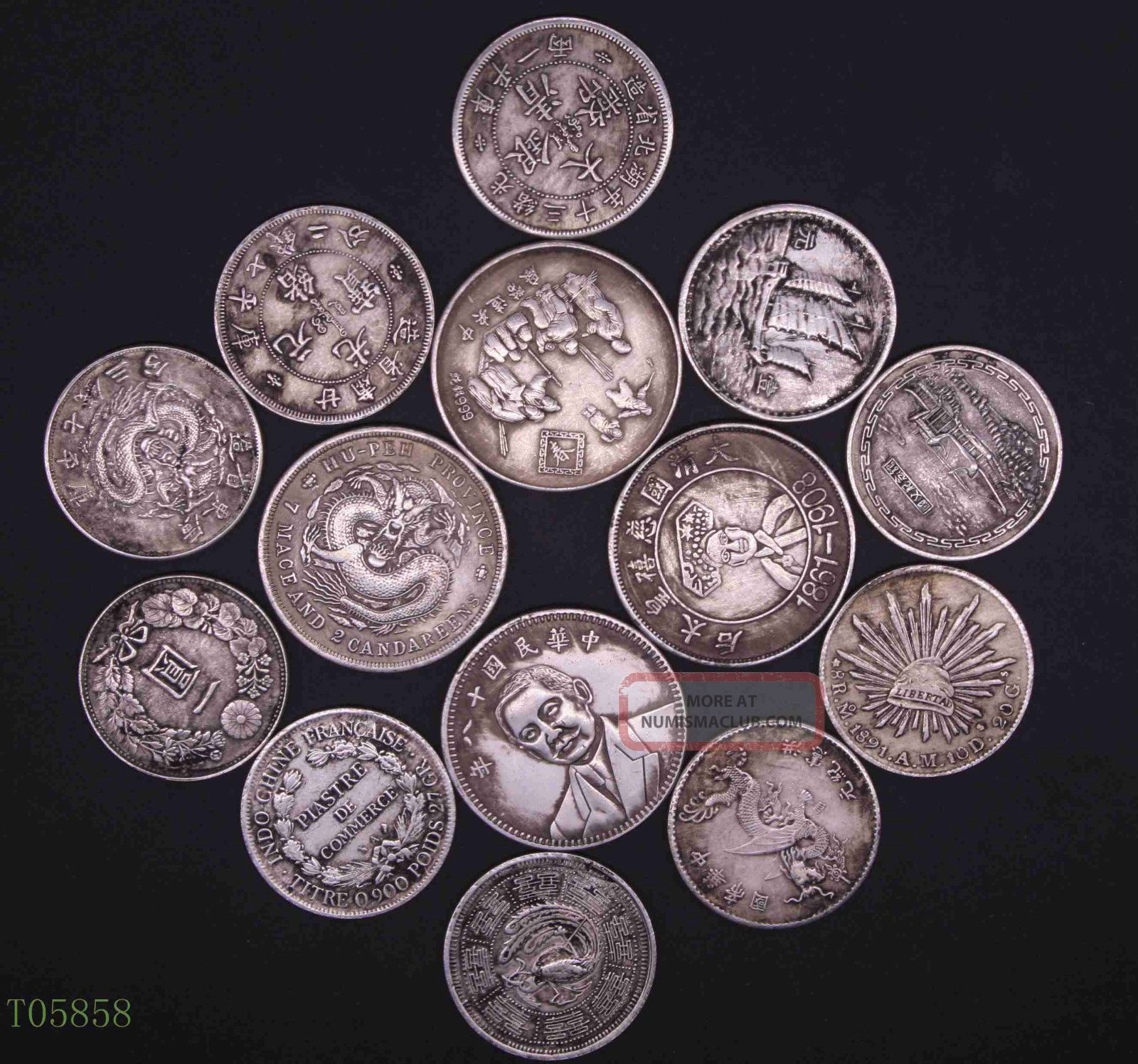 Old China Chinese The Republic Of China Commemorate Coin One Dollar 14pcs China photo