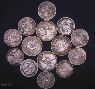 Old China Chinese The Republic Of China Commemorate Coin One Dollar 14pcs photo