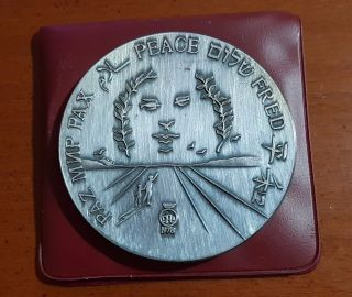 Israel 1987 Salvador Dali Silver Peace Medal With & Case 100g 59mm photo