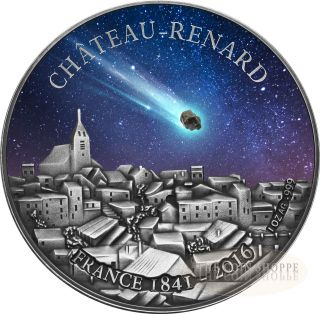 Chateau Renard Meteorite - France - 2016 1 Oz Pure Silver 1000 Francs Coin photo