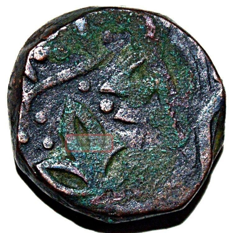 Indian Princely State Indore Flower And Double Pataka Mark Copper - 14.  34gm India photo