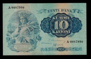 Estonia 10 Krooni 1937 Pick 67a Vf Banknote. photo
