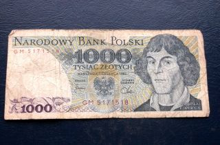 1982 National Bank Of Poland 1000 Zlotych Banknote P 146 Circulated M3 photo