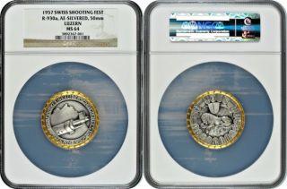 Swiss 1957 Shooting Medal Luzern R - 930a Switzerland Schweiz Ngc Ms64 Rare photo
