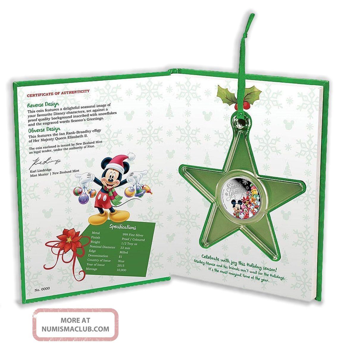 Disney $1 Dollar 1/2 Oz Silver Proof Coin 2015 Season ' S Greetings Christmas Gift Coins: World photo
