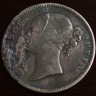 1840 Silver British East India Company One Rupee Victoria Coin.  917 Fine Silver photo