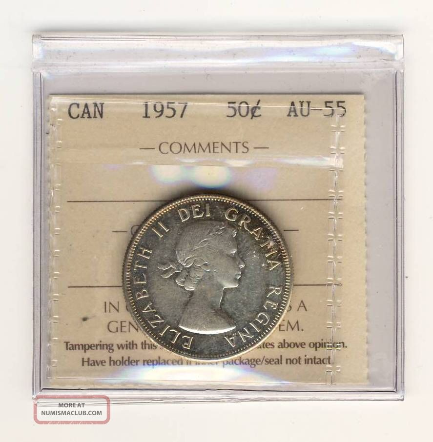 1957 50 Cents Silver Canada Graded Iccs Ty115 Au - 55 Coins: Canada photo
