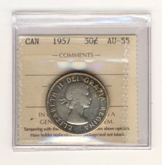 1957 50 Cents Silver Canada Graded Iccs Ty115 Au - 55 photo