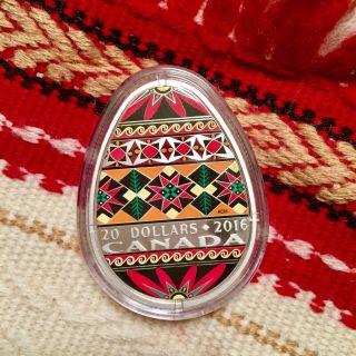 2016 Canada Fine Silver Coin - Traditional Ukrainian Pysanka (egg - Shaped Coin) photo