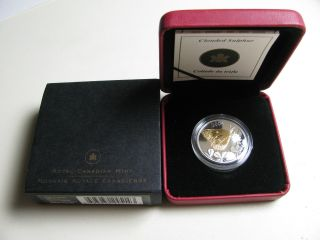 2004 Proof 50 Cents Butterfly 2 - Clouded Sulphur Canada Silver W/ Gold Plate Fif photo