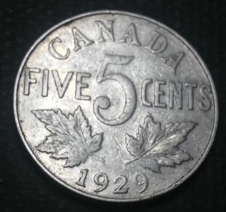 Canada 1929 Five Cents Nickel Ruler: George V photo