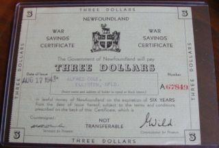 Rare 1943 Government Of Newfoundland $3 War Savings Certificate Choice photo