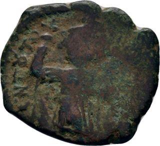 Rare Overstruck Byzantine Coin C.  650 Constans Ii Follis Constantinople Sear 1000 photo