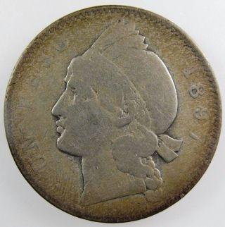 Dominica Republic 1897 Silver Peso,  Km 16. photo