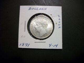 Bulgaria 1891 2 Leva Silver Coin Au photo