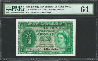 Hong Kong 1955 P - 324aa Pmg Choice Unc 64 1 Dollar photo