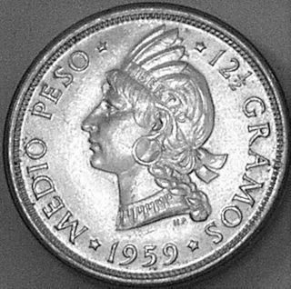 Dominican Republic 1959 1/2 Peso - - - - Choice B U - - - - photo
