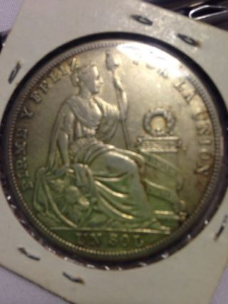 1926 Peru Un Sol Silver Coin 1 Sol.  4019 Asw photo