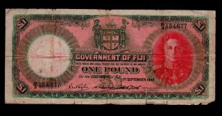 Fiji 1 Pound 1948 Pick 40c Vg Banknote. photo