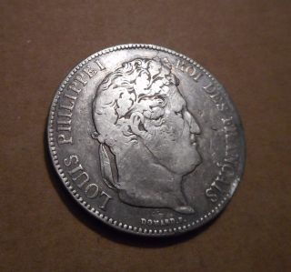 1834 Louis Phillipe 1,  Large 5 Franc Silver Coin.  Edge Embossed Also. photo