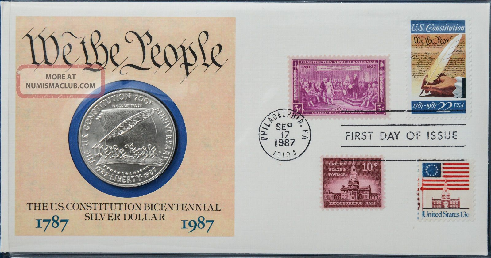 1987 Bicentennial Of The Constitution.  900 Silver Dollar Phila First Day Cover Exonumia photo