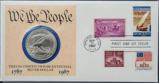 1987 Bicentennial Of The Constitution.  900 Silver Dollar Phila First Day Cover photo