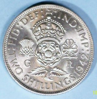 Great Britain Florin 1942 Uncirculated 0.  5000 Silver Coin photo