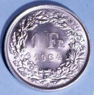 Switzerland 1 Franc 1964 B Brilliant Uncirculated 0.  8350 Silver Coin photo