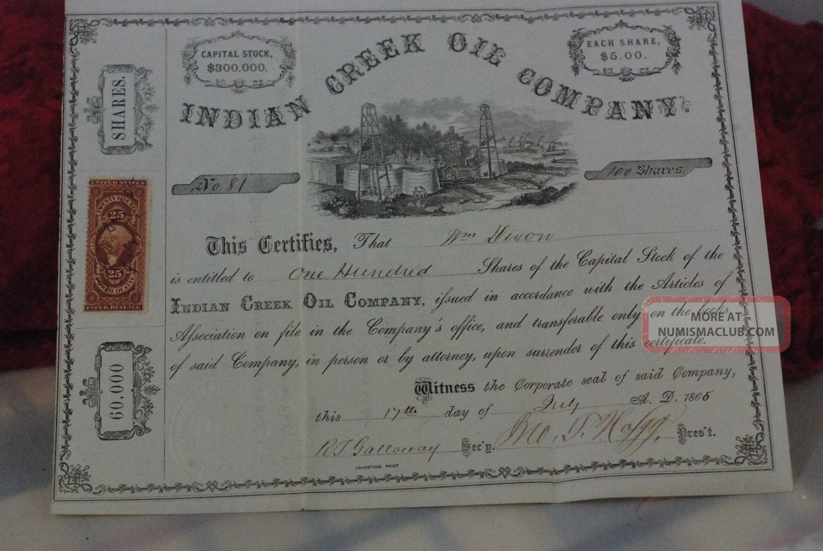100 Shs Indian Creek Oil Company,  Pennsylvania,  Stock Certificate,  July 17th,  1865 Stocks & Bonds, Scripophily photo