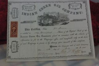 100 Shs Indian Creek Oil Company,  Pennsylvania,  Stock Certificate,  July 17th,  1865 photo