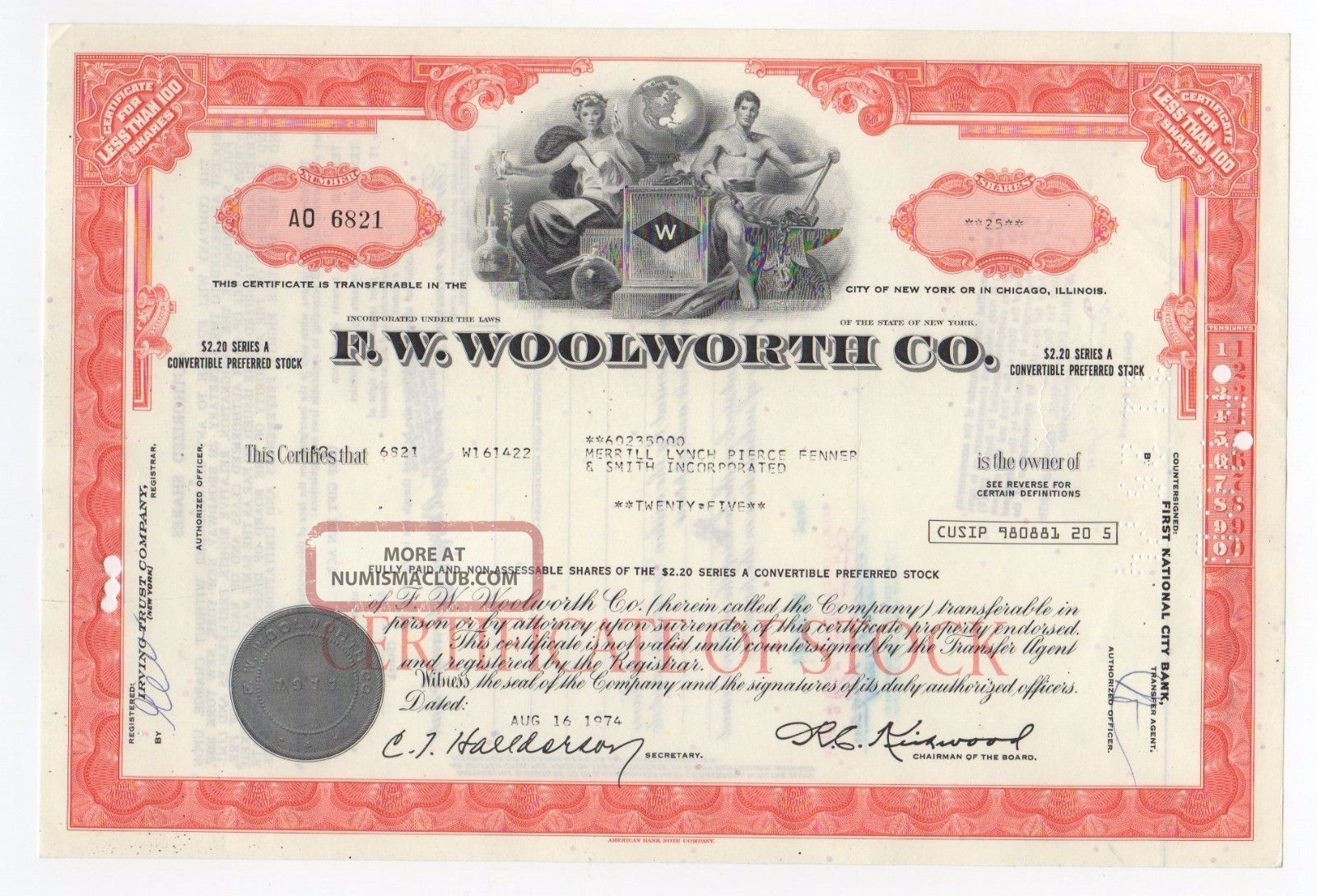 F.  W.  Woolworth Co.  Stock Certificate Stocks & Bonds, Scripophily photo