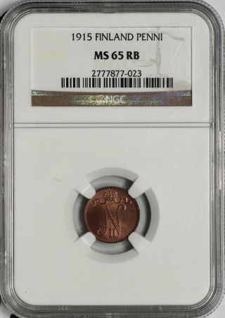 Finland Ngc Ms 65 Rb 1 Penni 1915 Rare This photo