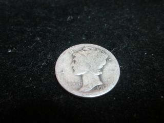 1917 Mercury Silver Dime Philadelphia 90 Silver Circulated Coin M - 8 photo