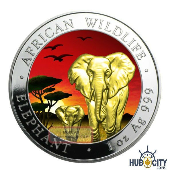 2015 1oz Somalia African Elephant Sunset 24k Gold Gild.  999 Fine Silver Coin Coins: World photo