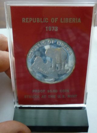 1973 Liberia - 5 Dollars - African Elephant - Us - 1 Oz Silver Proof Crown photo