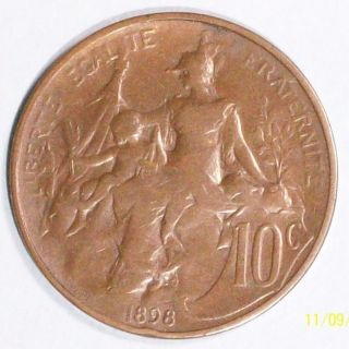 France 10 Centimes 1898 Fine/very Fine Bronze Coin photo