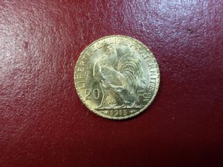1913 France French Rooster 20 Francs Gold Coin photo