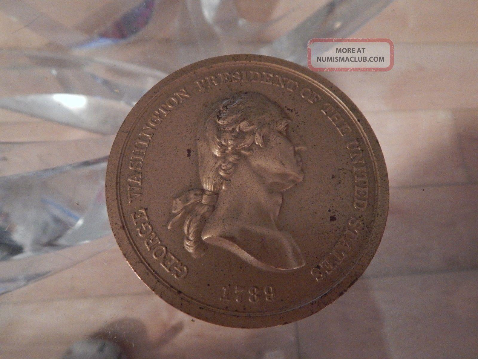 Vintage Bronze Colored George Washington 1789 Peace & Friendship Token Exonumia photo