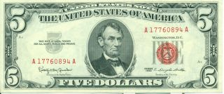 Us Federal Reserve Banknote Series 1963 5 Dollars. photo